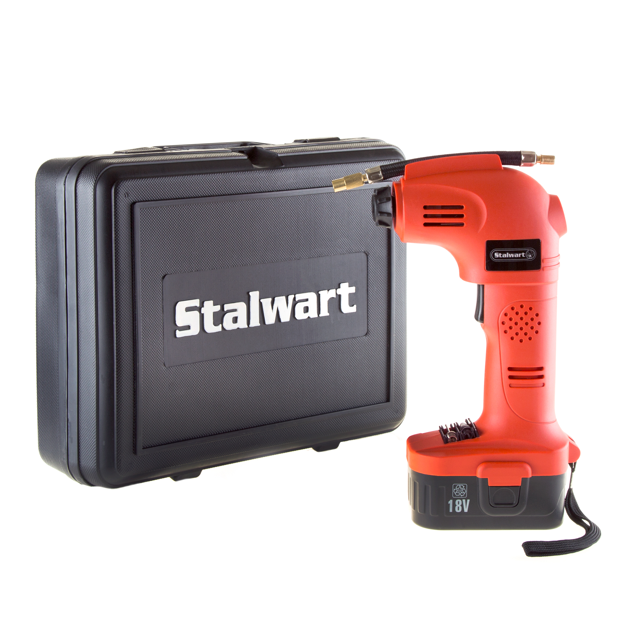 Cordless Air Compressor Portable Tire Inflator Rechargeable Handheld Emergency PSI/BAR Pump With Needles and Hose for Car Truck RV by Stalwart (18V)
