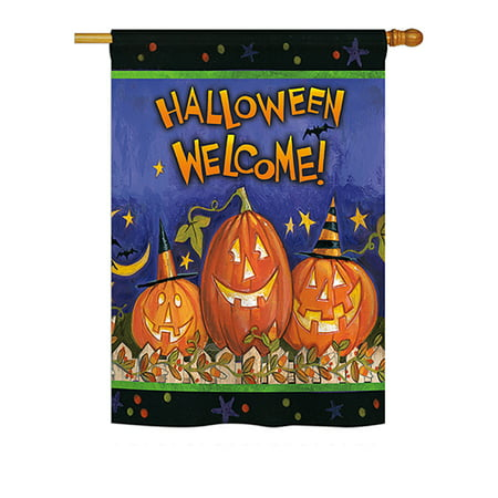 Halloween Usa Flag (Halloween Welcome Fall - Seasonal Impressions Decorative Vertical House Flag - Printed in)