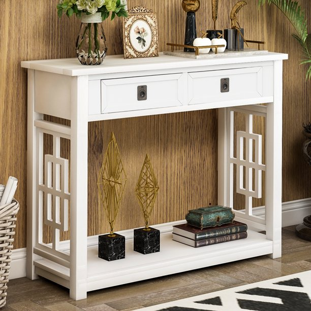 Entryway Table With Storage Drawer Btmway Farmhouse Narrow Console Tables For Wooden Entry Foyer Accent Entrance Hallway Sofa Couch Living Room Bedroom White R194 Com - Small Console Table With Drawers
