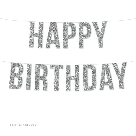 Silver Happy Birthday Real Glitter Paper Pennant Hanging Banner Includes String No Assembly Required](Hapy Birthday Banner)