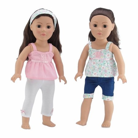18 Inch Doll Clothes | Vintage Mix and Match Outfits, Includes 2 Tank Style Shirts, Cool Jean Shorts with Matching Floral Cuff, Creamy White Leggings and Matching Headband | Fits American Girl