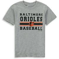MLB Baltimore ORIOLES TEE Short Sleeve Boys OPP 90% Cotton 10% Polyester Gray Team Tee 4-18