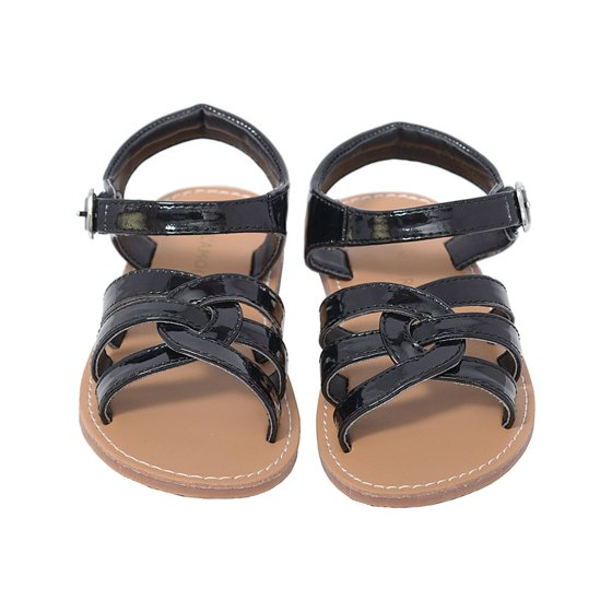 6f797ae3a L Amour - Patent Black Woven Strap Summer Sandals Little Girls 11-4 ...