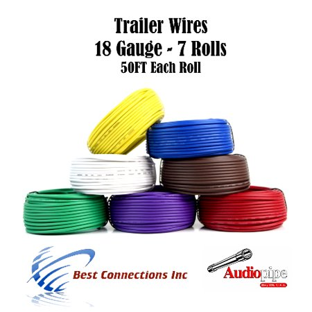 7 Way Trailer Wire Light Cable for Harness LED 50ft  Each Roll 18 Gauge 7 Colors