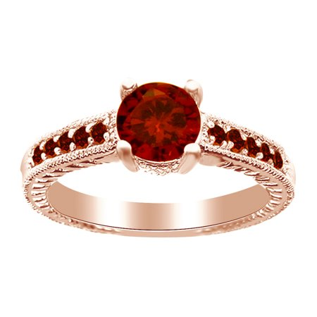 1.20 Ct Round Red Simulated Garnet Engagement Ring in 14k Rose Gold Over Sterling Silver Ring Size - 4 1.5 Ct Garnet Ring