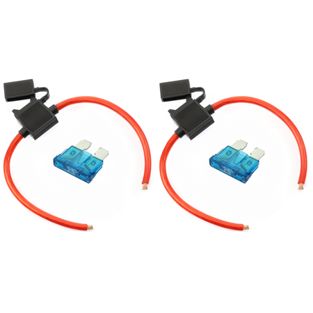 (2) True Spec OFC 10 AWG Gauge ATC Inline Fuse Holder Fuseholder cover & (2) Fuses