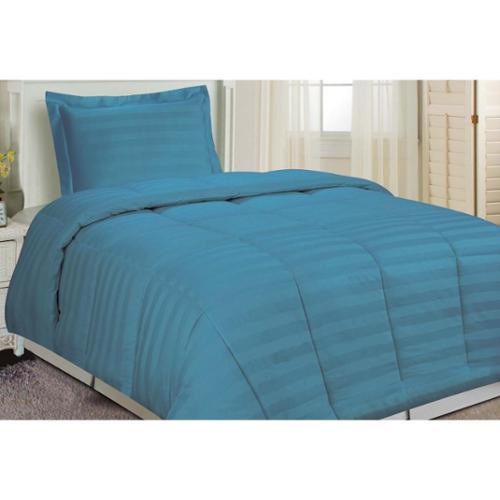 Damask Stripe Comforter Set Dusty Blue Twin