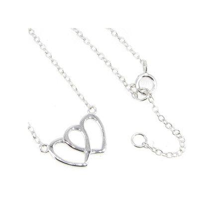 Sterling Silver Double Heart Love Pendant Tag Link Chain Necklace Adjustable 16 inch to 17 inch ()