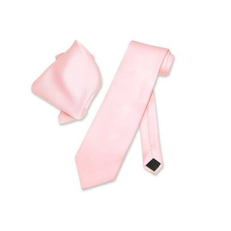 - Vesuvio Napoli Solid PINK Color NeckTie & Handkerchief Men's Neck Tie Set