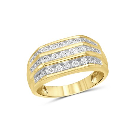 1/2 Carat Mens Diamond Ring (1/2 Carat T.W. White Diamond 10k Yellow Gold Men's Ring)