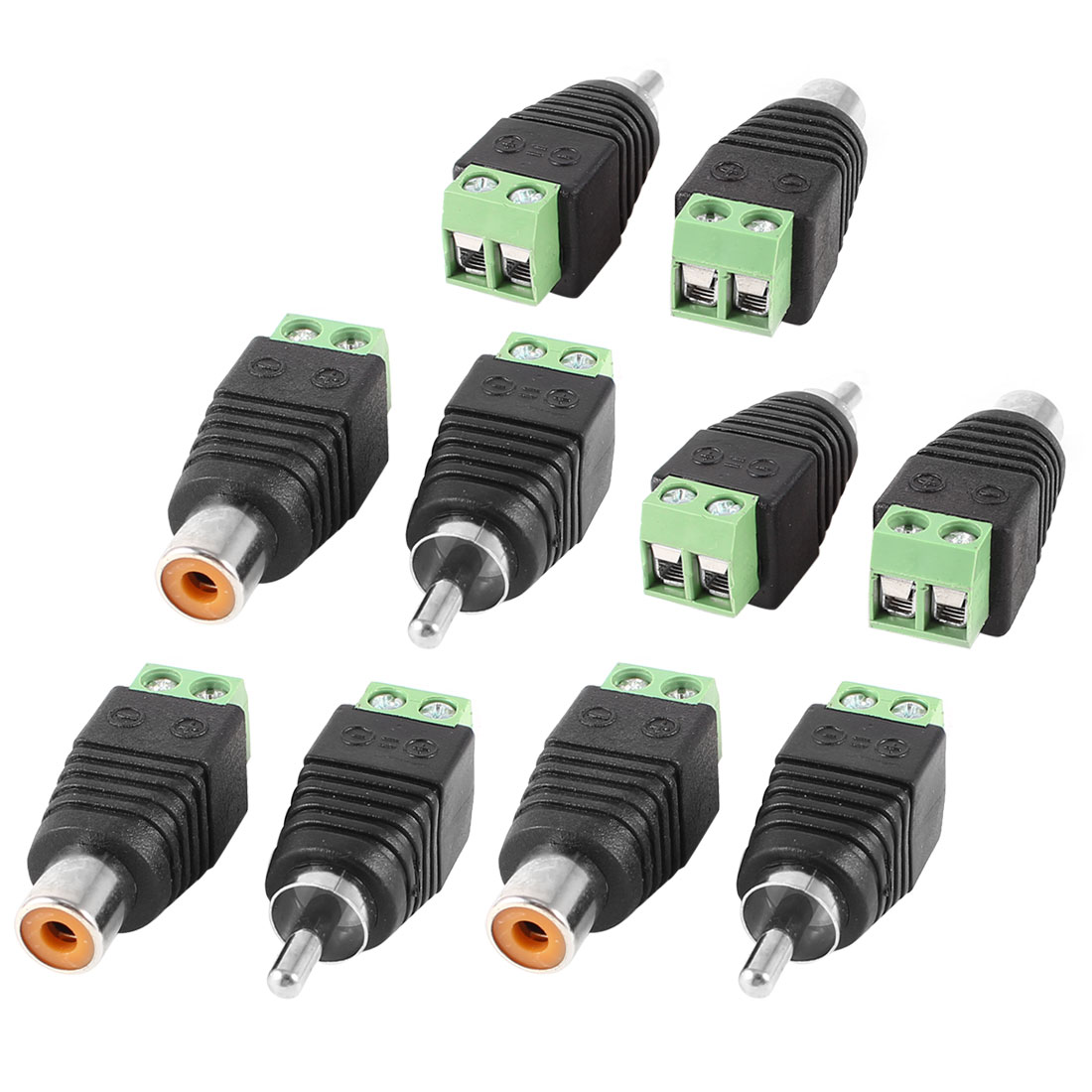 10 Pcs Coaxial Cat5 to RCA Female Male Audio Balun Connector for CCTV Camera