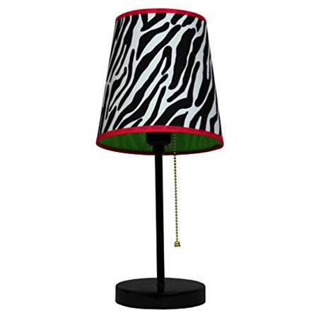 Table Lamp with Coordinating Liner Zebra Print Perfect for Bedrooms Kids Room ()