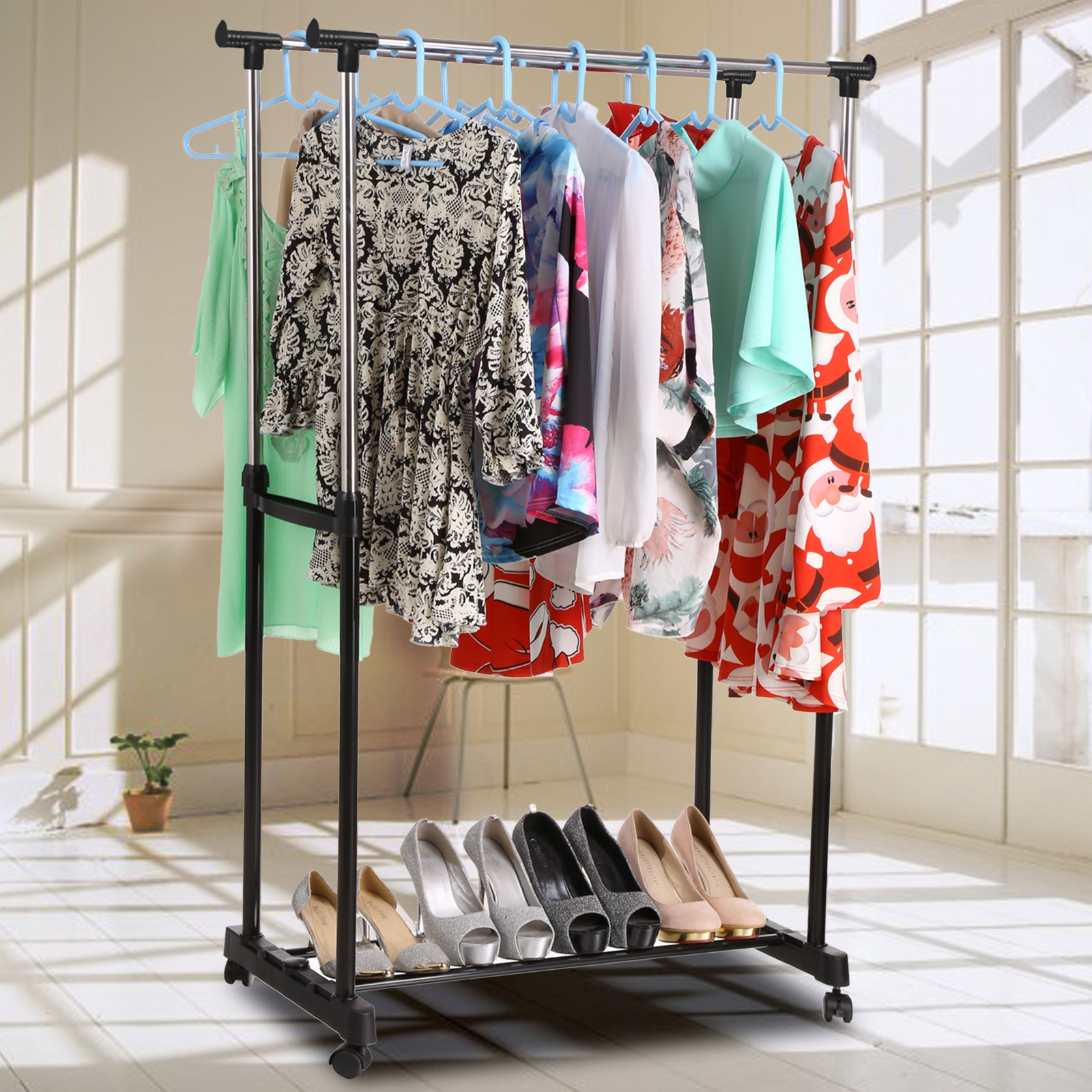 Garment Rack Topeakmart Clothes Rail Hanger Rolling