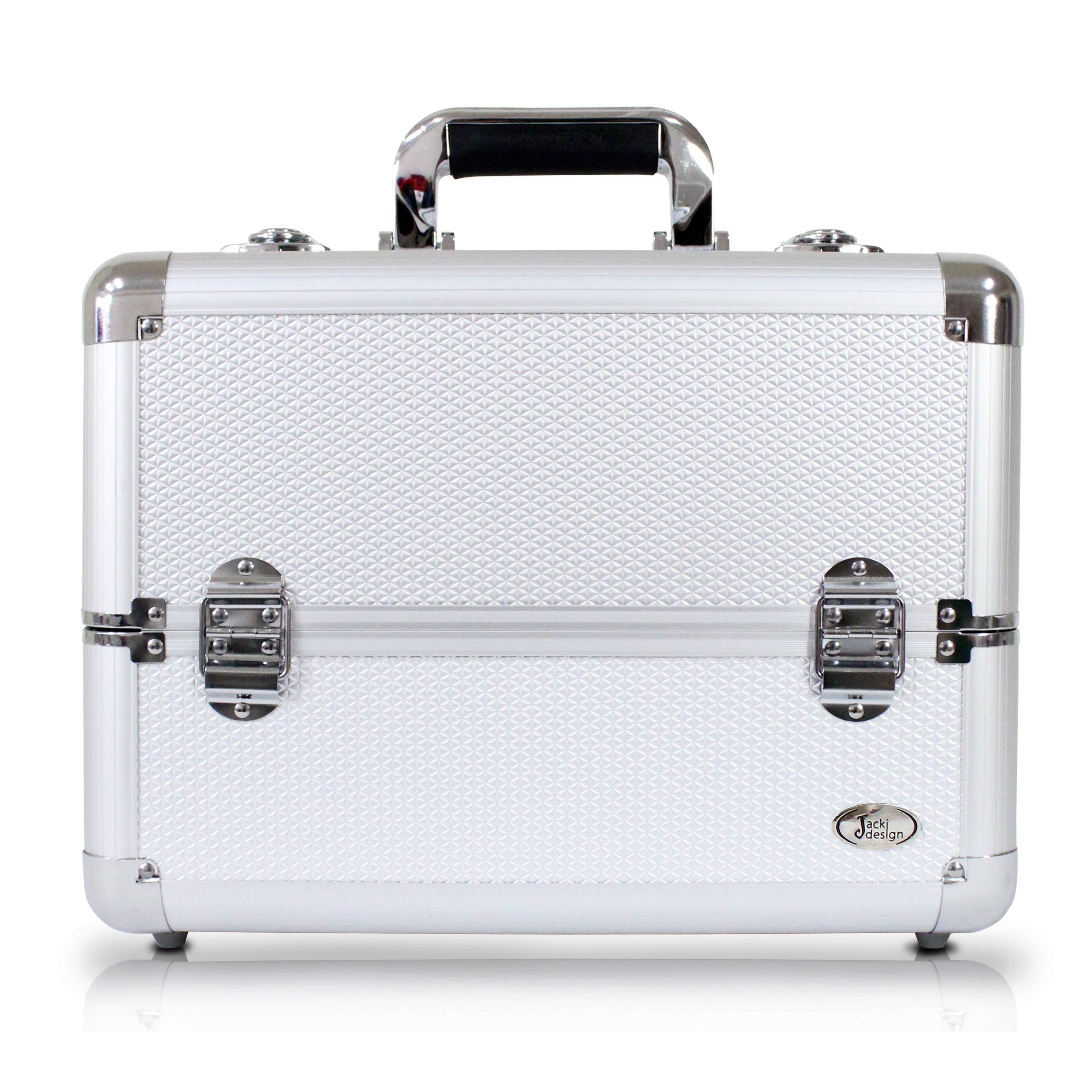 Jacki Design  Silver Aluminum Professional Makeup Train C...