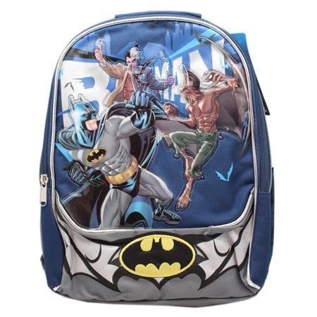 DC Comics Batman Villain Fighting Blue/Gray Small Size Kids Backpack (12in) (Batman Villain List)