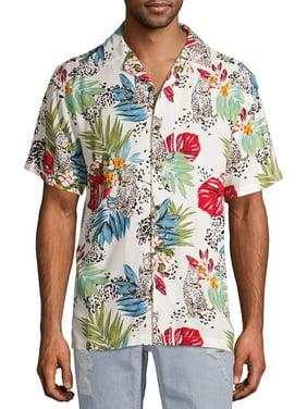 No Boundaries Men's Short Sleeve Tropical Leopard Shirt