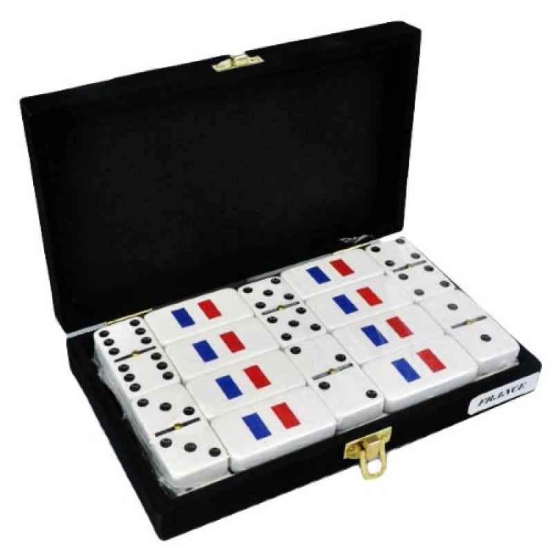 White Double Six Domino with French Flag Engraved in Velvet Case