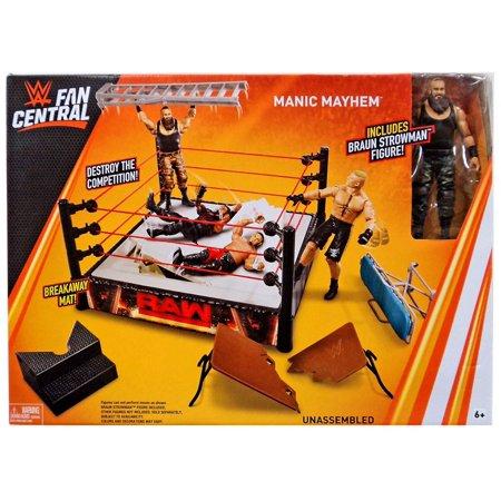 WWE Wrestling Fan Central Manic Mayhem Ring Playset [Includes Braun Strowman] (Wwe Ring Cake)