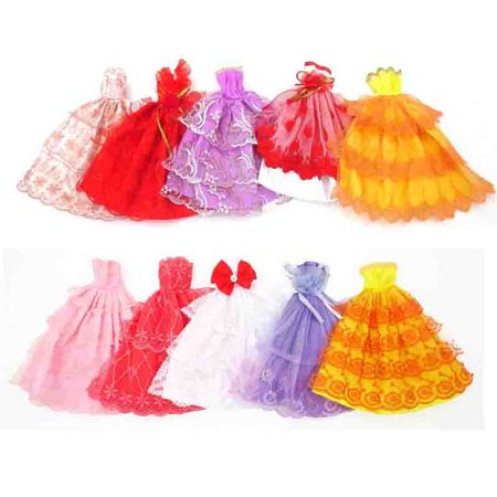 6 PCS Handmade Fashion Outfit Clothes for Dolls Clothing Doll Accessories Kids Gift (Style Color Random )
