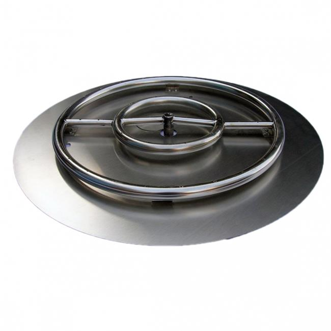 HearthDistribution FPK-OBRSS-24R 24in SS Fire Pit Ring Burner with Pan
