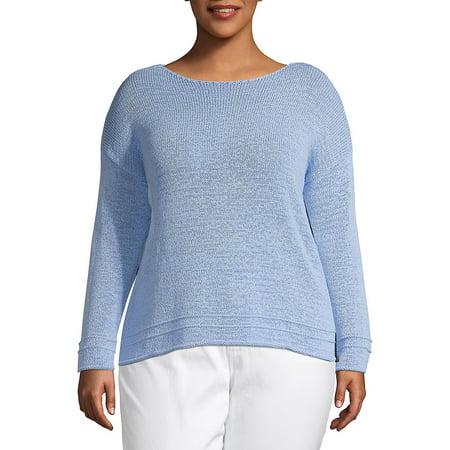 Plus Long-Sleeve Cotton Blend Sweater