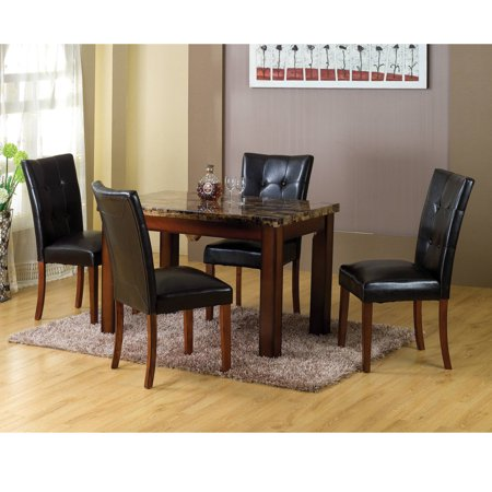 Home Source Mahogany Faux Marble Table and Four Chairs