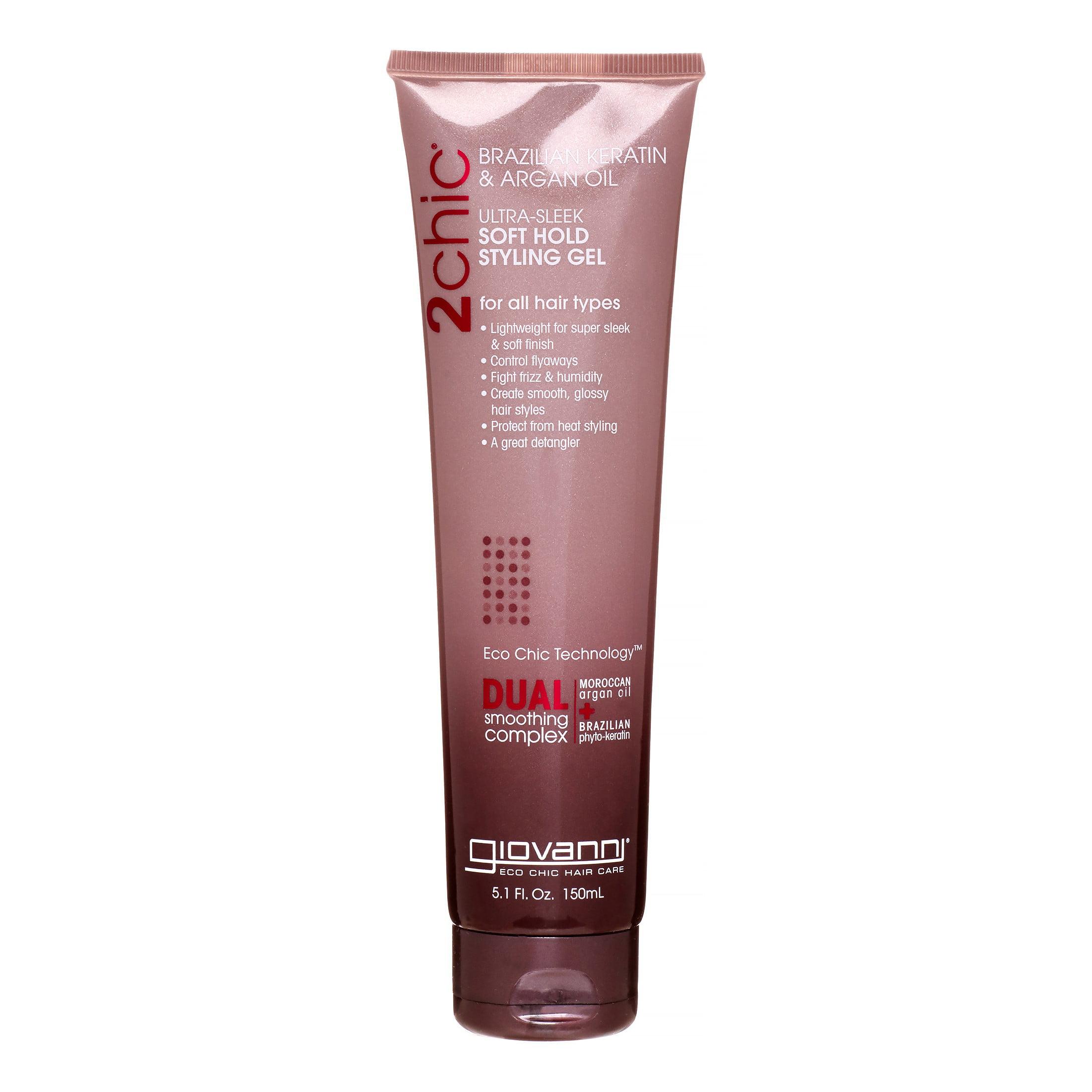 Giovanni 2chic Ultra-Sleek Soft Hold Styling Gel, Brazilian Keratin & Argan Oil, 5.1 Oz