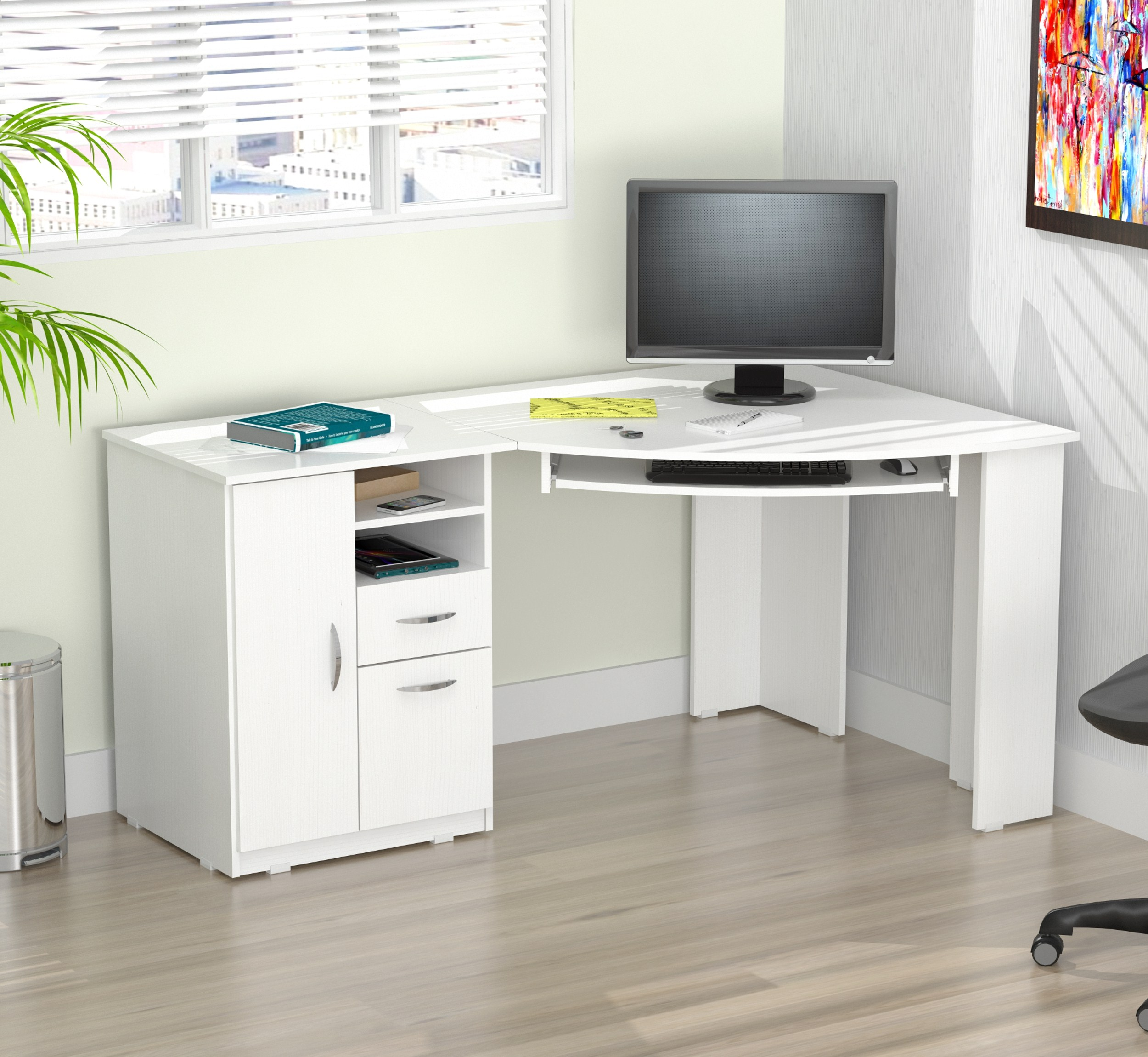 Inval Contemporary Laricina White Corner Computer Desk