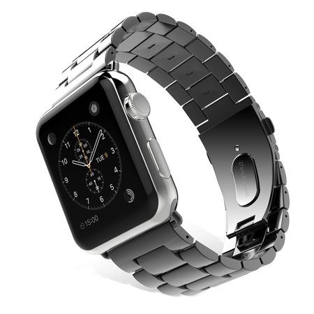 Apple Watch Replacement Band, Mignova Solid Stainless Steel Link Bracelet Replacement Band Strap with Durable Folding Clasp for Apple Watch Series 3 / 2 / 1 (38mm-Black) Ana Digi Watch Link Band