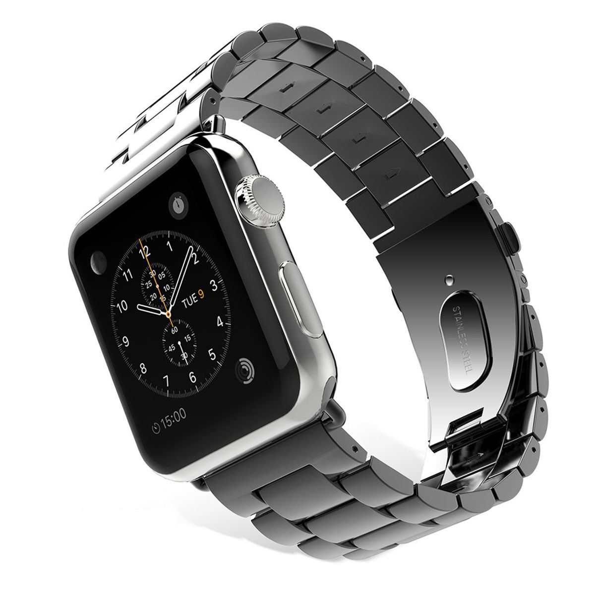 Apple Watch Replacement Band, Mignova Solid Stainless Steel Link Bracelet Replacement Band Strap with Durable Folding Clasp for Apple Watch Series 3 / 2 / 1 (38mm-Black)