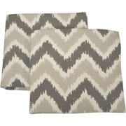 Bacati - Ikat Crib/Toddler Bed Fitted Sheets 100% Cotton Muslin 2 Pack, Zigzag Grey