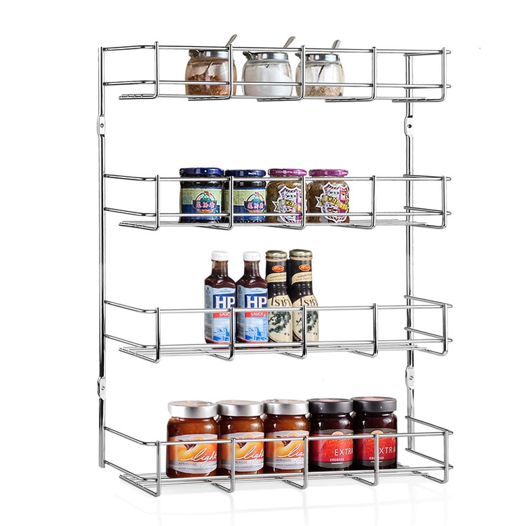 4 Tier Kitchen Storage Shelf Multipurpose Cabinet Organizer Spice Rack Metal Kitchen Door Wall Mounted Storage Shelf Pantry Holder