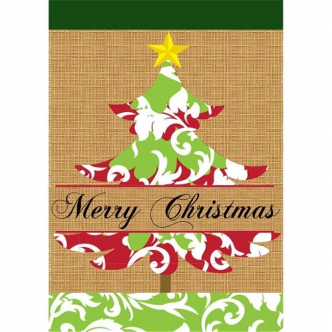 Jozie B 859 Burlap Christmas Tree Flag, Large