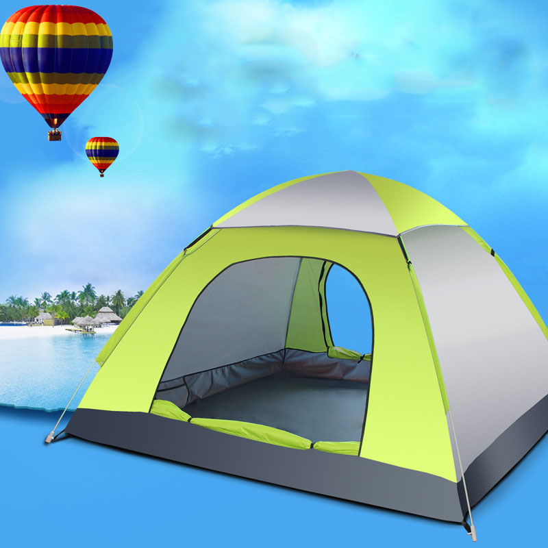 3-4 Person Automatic Folding Tents Family Tents Beach Tent Camping Double Speed to Open Rejection (Green Grey)