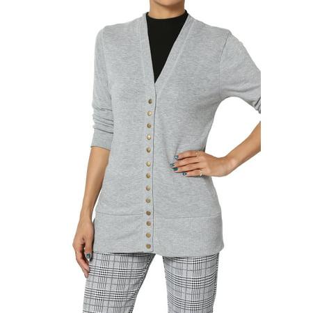 - TheMogan Women's PLUS Essential Basic Snap Button V-Neck 3/4 Sleeve Knit Cardigan