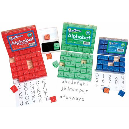 Center Enterprises Manuscript Uppercase Alphabets & Numbers Visual Closure Stamp Set, 1 Inch](Metal Alphabet Stamps)