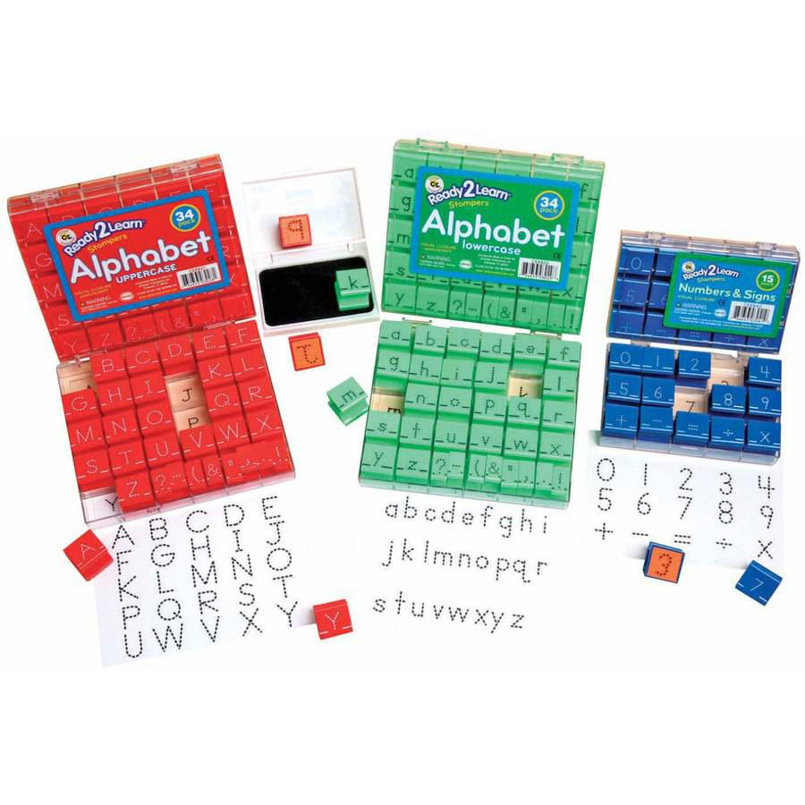 Center Enterprises Manuscript Uppercase Alphabets and Numbers Visual Closure Stamp Set, 1""