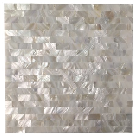 "12""x12"" Mother of Pearl Square Mosaic Tile, Seamless Seashell Design for Kitchen Backsplash, Bathroom and Floors(6 Pack)"