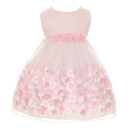 Baby Girls Pink Taffeta Flowers Sleeveless Dress 18M