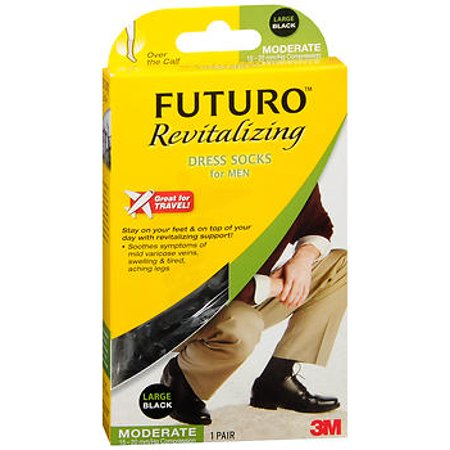 6078c512edb7 FUTURO - Futuro Revitalizing Dress Socks for Men Moderate Compression Large  Black - 1 pr - Walmart.com