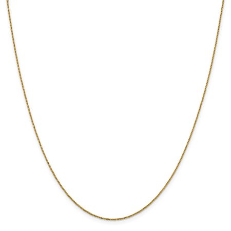 14k Yellow Gold Solid .9 mm Diamond cut Twisted Box Chain Necklace 16