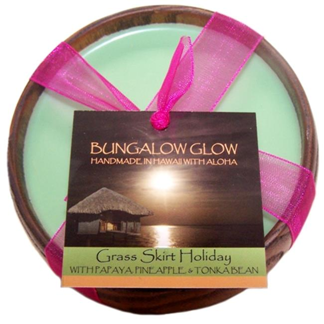 Bubble Shack Hawaii 689076054089 Grass Skirt Holiday Poi Bowl Candles - Pack of 2