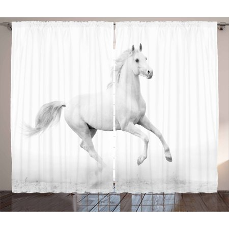 Black and White Decorations Curtains 2 Panels Set, White Stallion Running Horse Gallop Motion Speed Equestrian, Window Drapes for Living Room Bedroom, 108W X 84L Inches, White Black, by