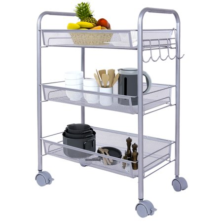 Lifewit 3 Baskets Metal Mesh Rolling Cart Kitchen Cart Utility Cart Wire Rack For Kitchen
