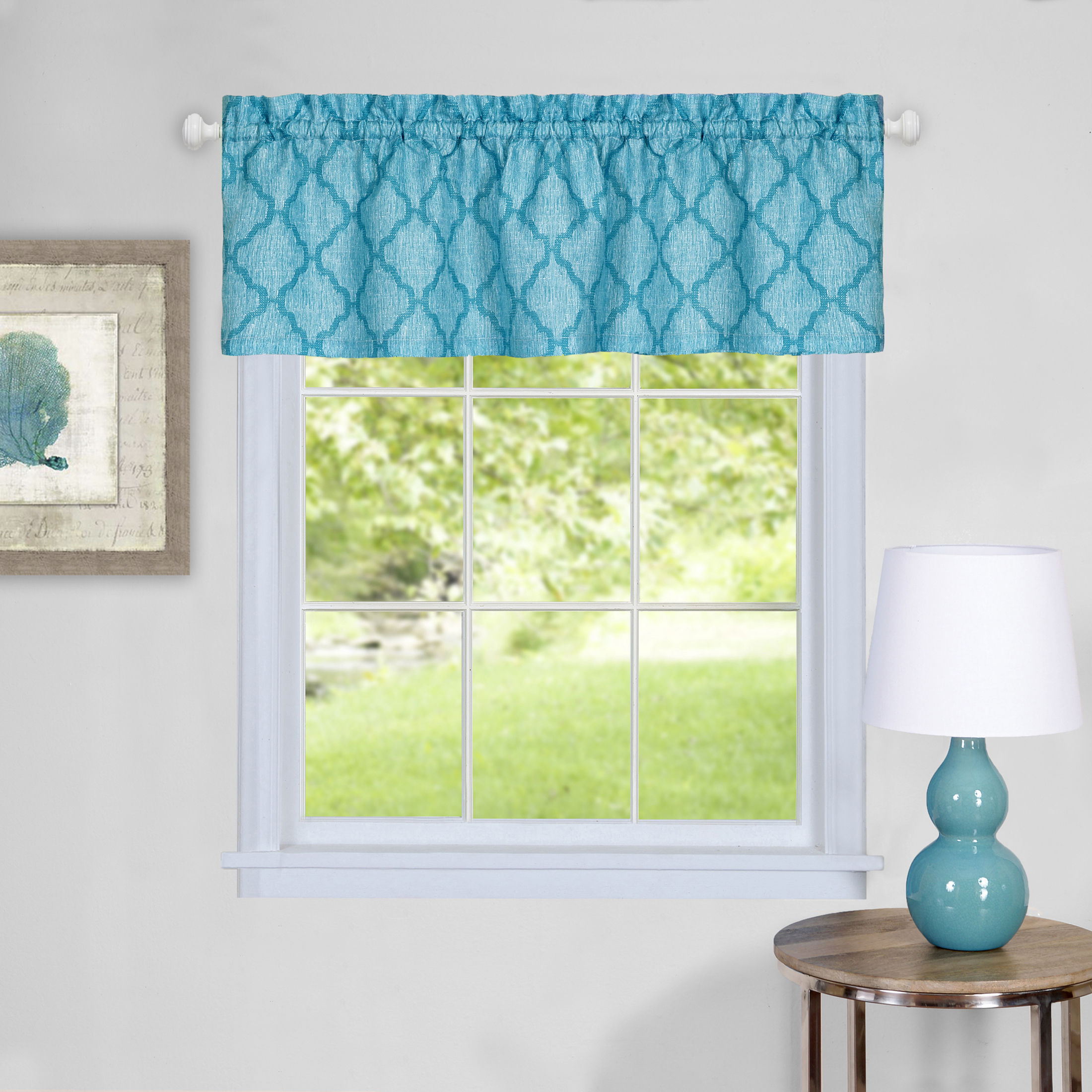 3 Piece Window Kitchen Curtain Set Moroccan Trellis Design Tier Pair Panels And Valance Assorted Colors Walmart Com Walmart Com