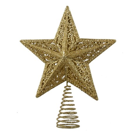 Pack of 6 Gold Leaf Glittered Star Decorative Christmas ...