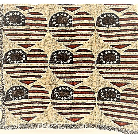 American Hearts Themed Cotton Throw - 65