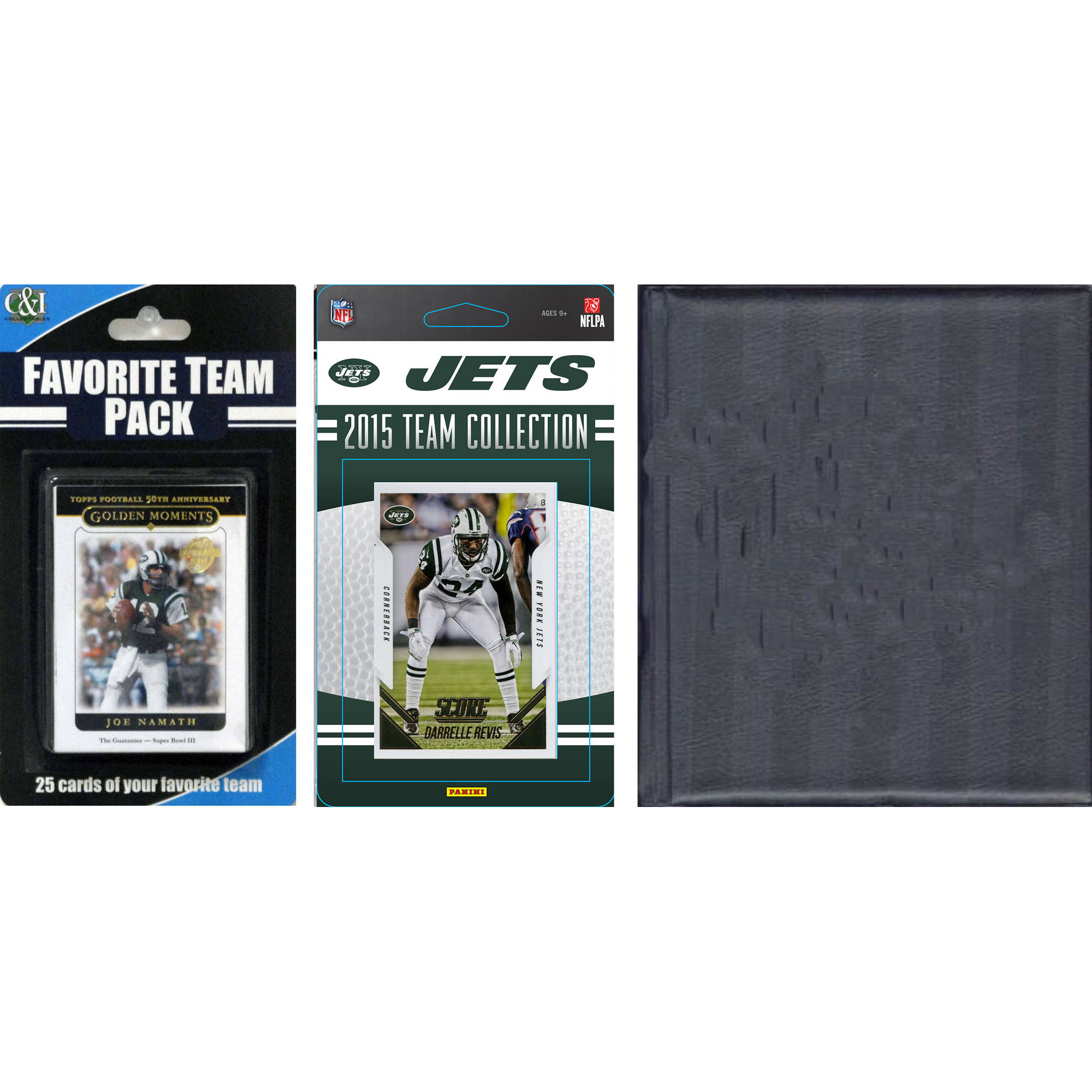 C&I Collectables NFL New York Jets Licensed 2015 Score Team Set and Favorite Player Trading Card Pack Plus Storage Album