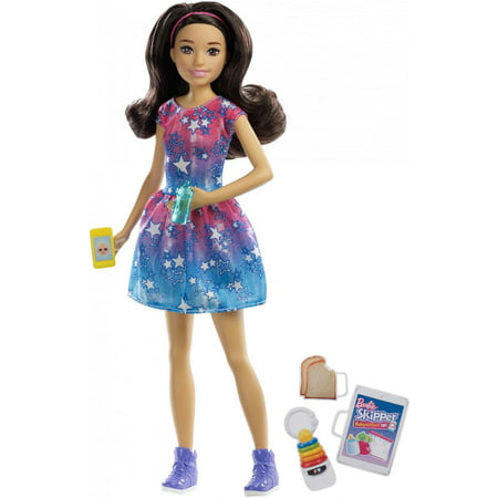 Blue Stopper (Barbie Babysitting Skipper Doll, Brunette, with Phone and Baby)