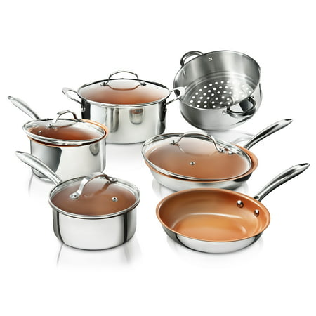 Copper Tri Ply - Gotham Steel Premium Tri-Ply Stainless Steel 10-Piece Complete Kitchen Set with Nonstick Copper Coating